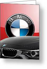 Black B M W - Front Grill Ornament And 3 D Badge On Red Greeting Card by Serge Averbukh