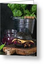 Black Burger With Stews Greeting Card