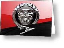 Black Jaguar - Hood Ornaments And 3 D Badge On Red Greeting Card