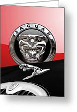 Black Jaguar - Hood Ornaments And 3 D Badge On Red Greeting Card by Serge Averbukh