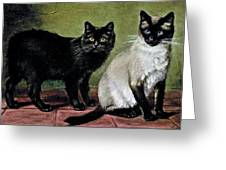 Black Manx And Siamese Cats Greeting Card