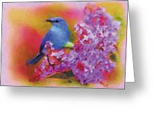 Blue Bird In The Lilac's Greeting Card