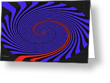 Blue Black And Red Twirl Abstract Greeting Card