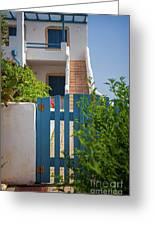 Blue Gate In Greece Greeting Card