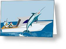 Blue Marlin Jumping Greeting Card