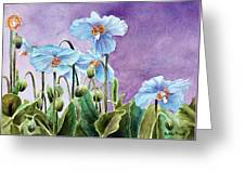 Blue Poppies Greeting Card by Bobbi Price