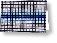Blue Toned Glass Brick Window Abstract  Greeting Card