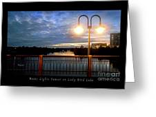 Boat, Lights, Sunset On Lady Bird Lake Greeting Card
