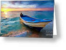 Boat On Beach Greeting Card