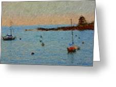Boats At Smugglers Cove Boothbay Harbor Maine Greeting Card