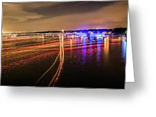 Boats Light Trails On Lake Wylie After 4th Of July Fireworks Greeting Card