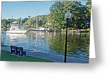 Boats On The Kalamazoo River In Saugatuck, Michigan Greeting Card
