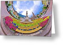 Bolzano Main Square Planet Perspective Panorama Greeting Card