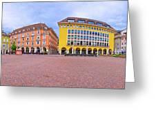 Bolzano Main Square Waltherplatz Panoramic View Greeting Card