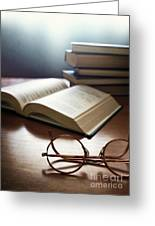 Books And Glasses Greeting Card