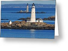 Boston Light And Graves Light Greeting Card