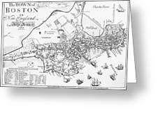 Boston Map, 1722 Greeting Card