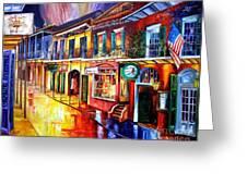 Bourbon Street Red Greeting Card by Diane Millsap