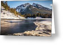 Bow River With Mountain View Banf National Park Greeting Card