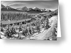 Bow Valley River View Black And White Greeting Card