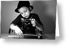 Boy In Hat With Old Camera. Greeting Card