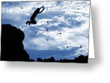 Boy Jumping With Birds Greeting Card
