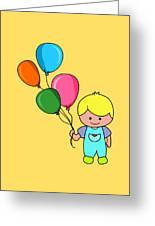 Boy With Balloons Greeting Card