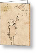Boy With Bird Greeting Card