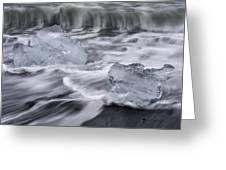 Brethamerkursandur Iceberg Beach Iceland 2588 Greeting Card