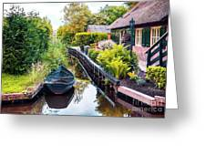 Bridge And River In Old Dutch Village Greeting Card