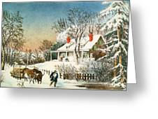 Bringing Home The Logs Greeting Card