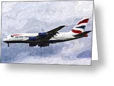 British Airways Airbus A380 Art Greeting Card