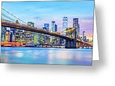Brooklyn Bridge And The Lower Manhattan Skyline Greeting Card by Mihai Andritoiu