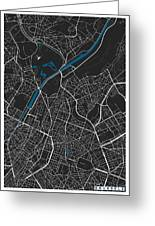 Brussels City Map Black Colour Greeting Card