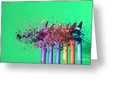 Bullet Hitting Crayons Greeting Card