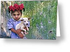 Burmese Girl With Puppy Greeting Card