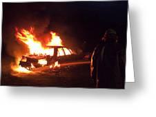 Burning Car And Fireman Greeting Card