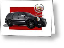 Cadillac Escalade With 3 D Badge  Greeting Card