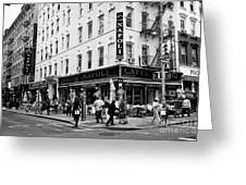 caffe napoli on the corner of mulberry street and hester st  little italy New York City USA Greeting Card