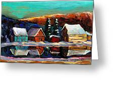 Canadian Art Laurentian Landscape Quebec Winter Scene Greeting Card