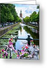 Canal And Decorated Bike In The Hague Greeting Card