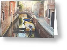 Canals Of Venice With Instagram Vintage Style Filter Greeting Card