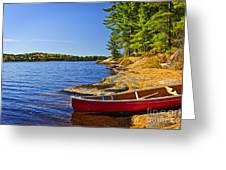 Canoe On Shore Greeting Card by Elena Elisseeva