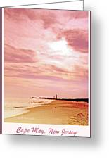 Cape May New Jersey, Sunset With Lighthouse In The Distance Greeting Card