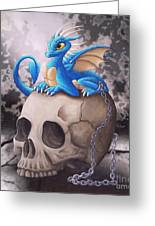 Captive Dragon On An Old Skull Greeting Card