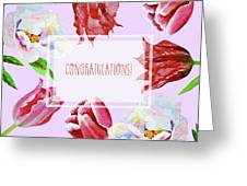 Card With Tulips And Peonies Greeting Card