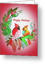 Cardinals Painted By Judith Brilhamte Greeting Card