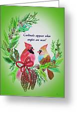 Cardinals Painted By Laurel Adams Greeting Card