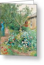 Carl Larsson, Garden Scene From Marstrand On The West Coast Of Sweden. Greeting Card