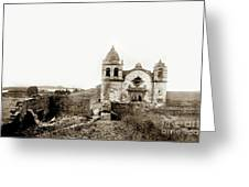 Carmel Mission By A.j. Perkins 1880 Greeting Card